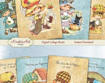 75 % de réduction vente Bonnie - Collage numérique feuille numérique cartes C170 imprimable téléchargement Image Tags enfants Atc cartes ACEO bébé