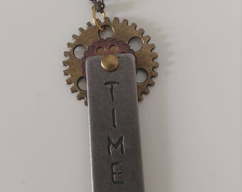 "Steampunk ""Time"" Necklace, Steampunk Pendant"