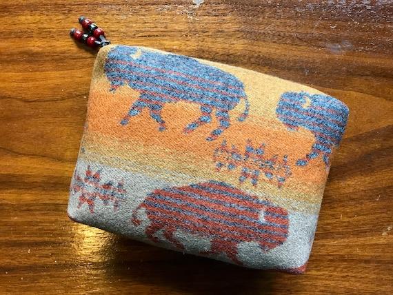 Cosmetic Bag / Makeup Bag / Zippered Pouch Large Running Buffalo