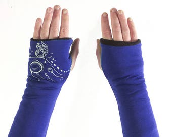 Aqua blue fingerless mittens King with screen printing