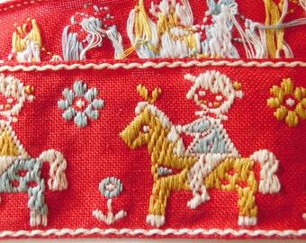 "Vintage Jacquard Ribbon Trim | 1-7/8"" Inch Woven Jacquard Ribbon | Children's Costume Trim~RED~Yellow~Grey/Blue | Child on a horse"