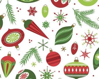 Santa's Stash - Christmas Baubles White from Patrick Lose Fabrics
