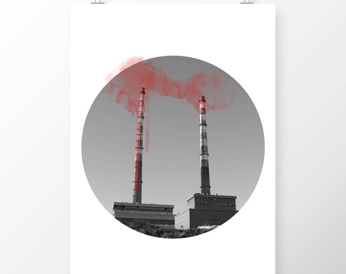 Featured listing image: Art Print Dublin Bay Poolbeg Chimney Stacks