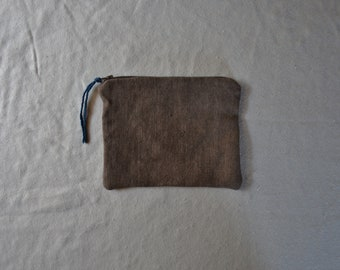 Earthy brown pouch natural dyes witch moon bag organizer purse zip wallet cosmetics travel makeup earthy boho bohemian style natural cases