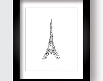 Paris Art, Eiffel Tower, Geometric Art, Printable, Black and White, Triangles, Stylized Eiffel Tower, France Art, French Art