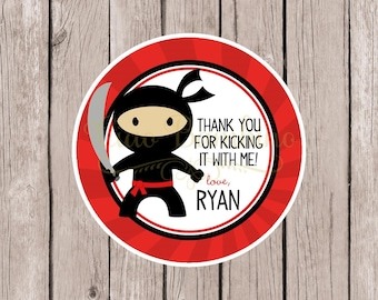 Ninja Favor Tags or Stickers for Ninja Birthday Party / Red and Black Ninja Stickers or Tags Personalized with Name / Set of 12
