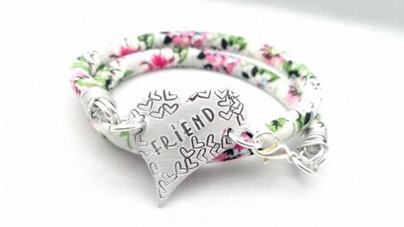 Floral wrap bracelet - handstamped Heart, butterfly, disc,