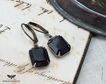 Classic Jet Black Crystal Earrings, Art Deco Earrings with Vintage Swarovski Crystal, Antiqued Brass Estate Style Earrings, Handmade UK
