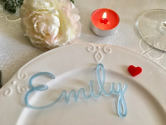 Frosted Blue Tags Acrylic Place Cards Laser cut names for weddings Guest names Place settings Custom Wedding table sign Baby boy blue shower