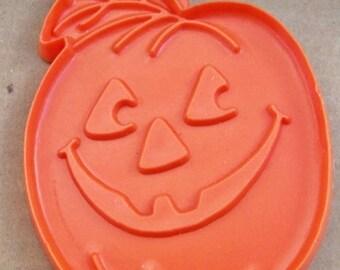 Hallmark Pumpkin Cookie Cutter ~ Orange Soft Plastic Side Glancing Eyes ~ Grinning Jack O Lantern ~ Halloween Thanksgiving Theme ~ # 101