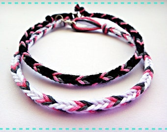 Handmade Black White Pink Friendship Bracelet Couple Bracelet Set of 2