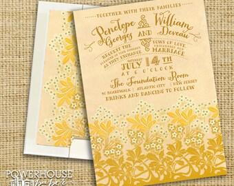 Art Deco Floral Wedding Invitation Suite