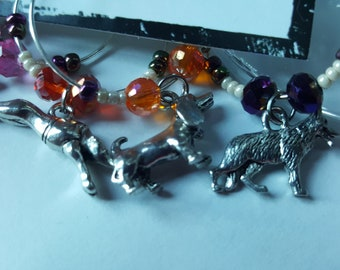 SALE - Year of the Dog THEMED SET - Wine Charms or Drink Tags