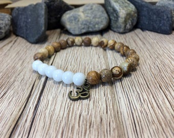 Picture jasper bracelet men jewelry gift guardian jewelry gift for boyfriend Mens Yoga Bracelet Meditation Jewelry Stone Bracelet Wrist Mala