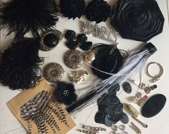 Fine Studio lot 20 items feathers finishes cabochons