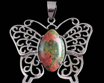 Silver plated Butterfly pendant - unakite