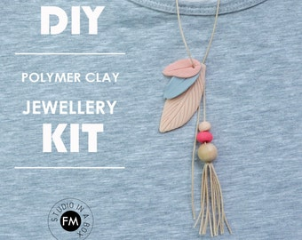 DIY Polymer Clay Jewellery Kit - Polymer clay leaf necklaces//Boho jewelry- Handmade - Blue + Beige + Red Hot Red