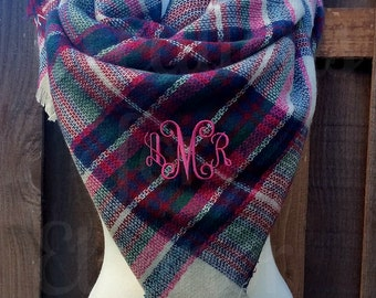 Monogrammed Blanket Scarf, Monogram Scarf, Monogrammed Gift, Monogrammed Plaid Scarf, Blanket Scarf, Blanket Scarves, Tartan Scarf