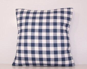 Navy Check Pillow Cover, Euro.Sham, Lumbar,18 x 18, 20 x 20, 24 x 24,  Pillow Insert, Premier Prints Fabric, Navy and White,Gingham