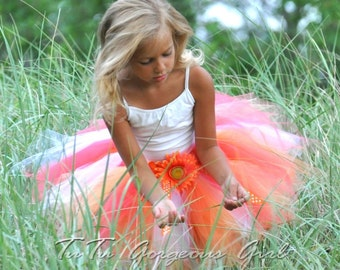 Girl's Summer Tutu...Orange, Yellow, White Tutu...Tropical Birthday Tutu, Hawaiian Tutu...Newborn to Adult Sizes. . . LITTLE MISS SUNSHINE