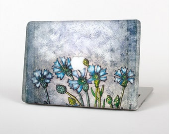 The Watercolor Blue Vintage Flowers Skin for the Apple MacBook Air - Pro or Pro with Retina Display (Choose Version)