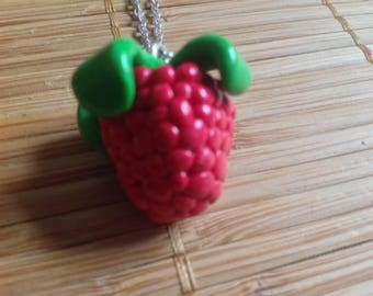 Raspberry color with silver charm necklace
