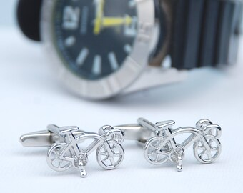 Personalised Boxed Racer Bike Cufflinks, Bicycle Cufflinks, Engraved Chromed Box, Fathers Day Gift, Racing Bike Cuff Links, Sports cufflinks