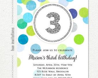 3rd birthday invitations for boys, green blue gray confetti silver glitter third birthday party invitation, printable digital invitation
