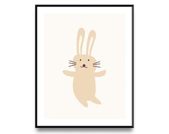 Bunny Print, Nursery Decor, Nursery Wall Art, Nursery Art, Animal Print, Nursery Artwork, Nursery Prints, Animal Art, Printable Art