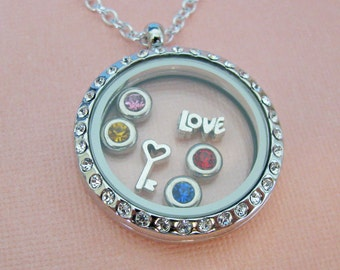 Glass locket bracelet fill with your choice of charms glass locket necklace with cubic zirconia detail fill with birthstones and charms aloadofball Images