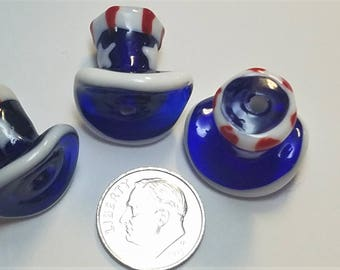 3 Lampwork Uncle Sam Hats