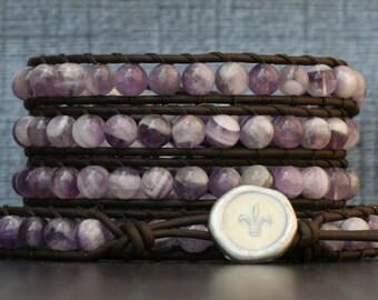 amethyst bracelet- chevron amethyst on black brown leather beaded wrap bracelet - fleur de lis jewelry - purple and white - boho
