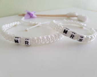 Mr & Mrs handmade white cotton cord bracelet