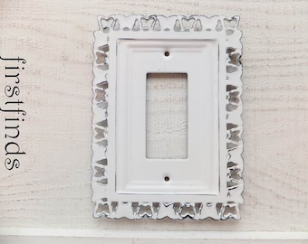 Light Switch Plate Electrical Outlet Plug Cover Shabby Chic White Black GFI Framed Butterfly Painted Vintage Single Rocker DESCRIPTION BELOW