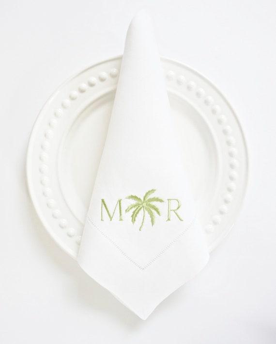 Palm Design Embroidered Dinner Napkins, Linen Towels, wedding or hostess gift, bridal shower gift, kitchen towels