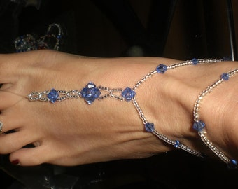 BEAUTIFUL ROYAL BLUE BAREFOOT SANDALS\/THONG \/FOOT JEWELRY