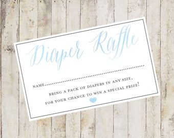 Baby Shower Printable, Baby Shower Diaper Raffle Card, Diaper Raffle Card, Baby Shower Insert Blue Baby Boy, Baby Shower Game