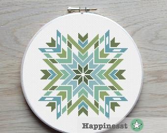 modern cross stitch pattern, geometric ornament, arrows, quiting, folk art, PDF ** instant download**