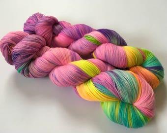 Sweet Peas in Sunshine Hand Dyed Superwash Merino Lace Yarn
