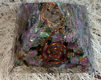 Orgone Pyramid Water melone Tourmaline Stone 50 MM With Crystal ,Copper, Metal And Pyrite
