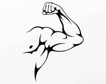 Decals sticker Bodybuilder Muscle arm fitness Weatherproof 04459