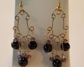 Gold and Contrast Chandelier Earrings