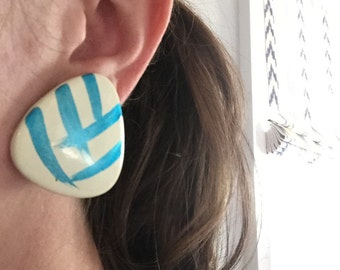 Vintage Blue and White Stud Back Earrings