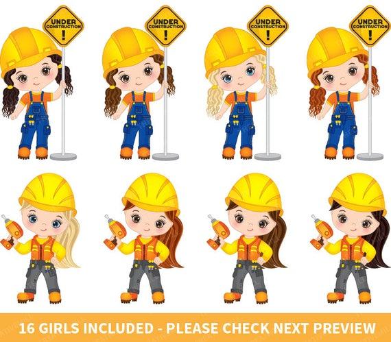 Construction Girls Clipart Vector Girl