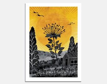 The Tallest Flower Art Print / cabin / garden / sun rays / landscape / meadow / yellow / black / birds / kids room / bright / summer / happy
