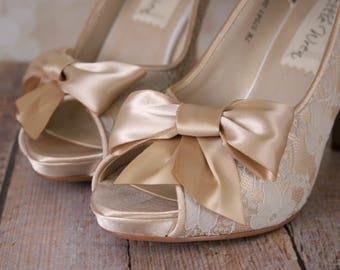 SAMPLE SALE: Wedding Shoes, Champagne Wedding Shoes, Wedding Shoes Champagne, Lace Wedding Heels, Wedding Shoes with Bow, Champagne Wedding