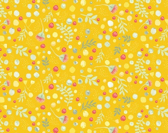 Blossoms & Berries on Gold Allover on Black Fabric Sold Per 1/2 Metre 100% Cotton