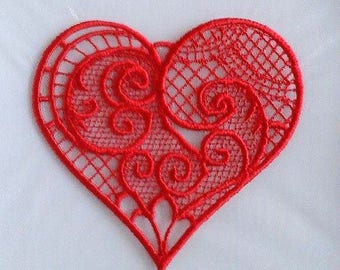 Special offer : 3 x red lace heart with free shipping!
