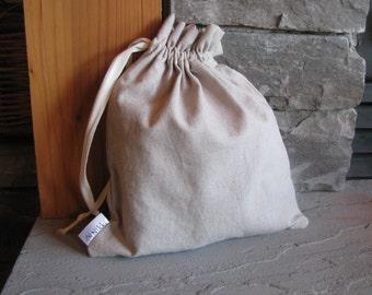 Set of 3 Medium Drawstring Fabric Gift Bags, Washable, Linen, Cotton, Natural, Oatmeal