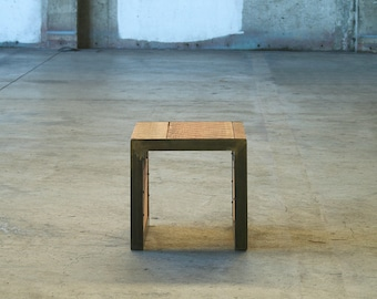 reclaimed wood side table from old growth fir and recycled content steel - mini coffee table, end table, ottoman, modern industrial